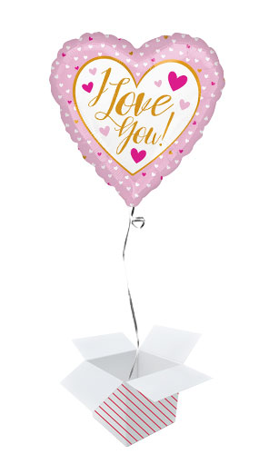 I Love You Gold And Pink Valentines Day Foil Helium Balloon - Inflated Balloon in a Box