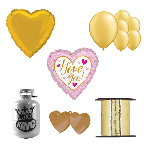 I Love You Gold And Pink Valentine's Day Small Helium Gas Package With Balloons