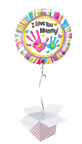 I Love You Mummy Handprints Round Foil Helium Balloon - Inflated Balloon in a Box