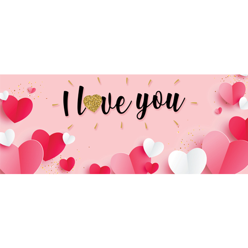 I Love You Paper Hearts Valentine's Day PVC Party Sign Decoration 60cm x 25cm