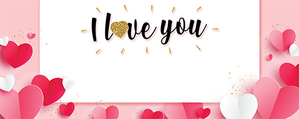I Love You Paper Hearts Valentines Design Small Personalised Banner – 4ft x 2ft