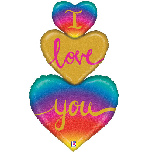 I Love You Rainbow Heart Trio Holographic Valentine's Day Helium Foil Giant Balloon 101cm / 40 in Product Image
