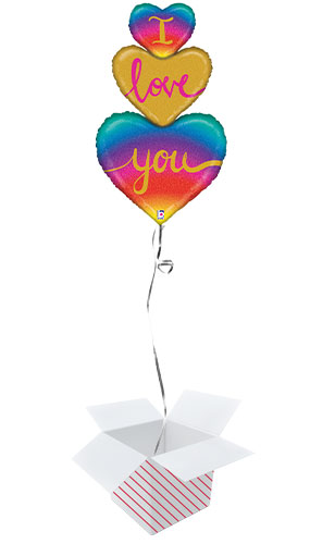 I Love You Rainbow Heart Trio Holographic Valentine's Day Helium Foil Giant Balloon - Inflated Balloon in a Box Product Image