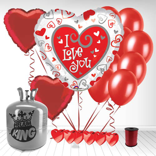 I Love You Two Sided Valentine's Day Small Helium Gas Package With Balloons