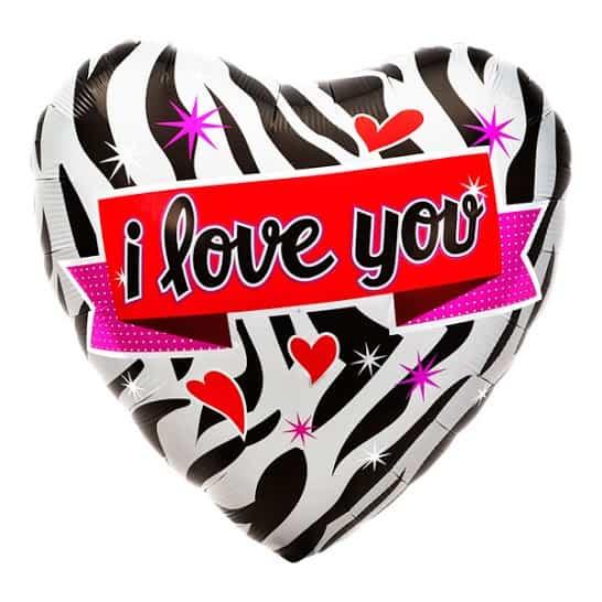 I Love You Zebra Design Heart Shaped Foil Helium Balloon 46cm / 18Inch Product Image