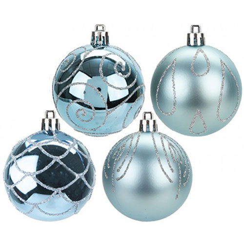 Ice Blue Luxury Baubles Christmas Tree Decorations 6cm - Pack of 9 Product Image