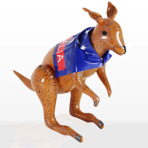 Inflatable Kangaroo With Aussie Flag Cape - 25.5 Inches / 65cm Product Image