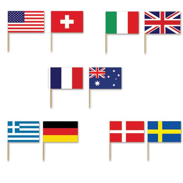 International Flags Food Picks - Pack of 50