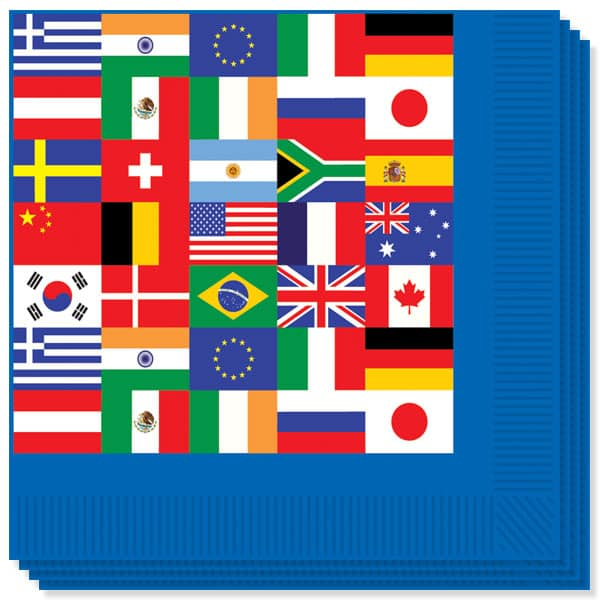 International Flags Theme 2 Ply Luncheon Napkins - 13 Inches / 33cm - Pack of 16