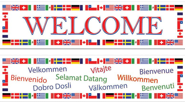 International Welcome Plastic Banner - 5 Ft x 15 Inches / 150 x 38cm - Pack of 2