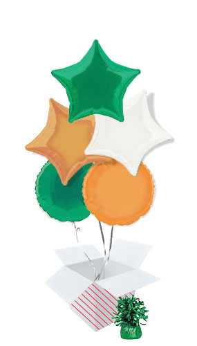 Ireland Assortment Foil Helium Balloon Bouquet - 5 Inflated Balloons In A Box Product Image