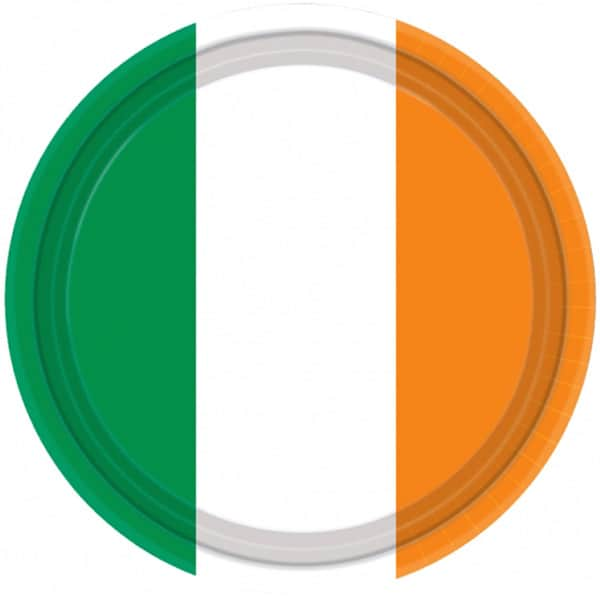 Ireland Flag Theme Paper Plate - 9 Inches / 23cm