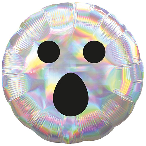 Iridescent Ghost Face Halloween Round Foil Helium Balloon 45cm / 18 in Product Image