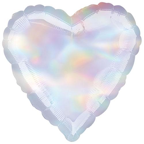 Iridescent Heart Foil Helium Balloon 43cm / 17Inch