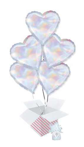 Iridescent Heart Foil Helium Balloon Bouquet - 5 Inflated Balloons In A Box