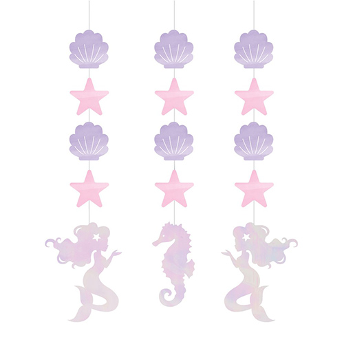 Iridescent Mermaid Shine Foiled Hanging String Decorations 57cm - Pack of 3