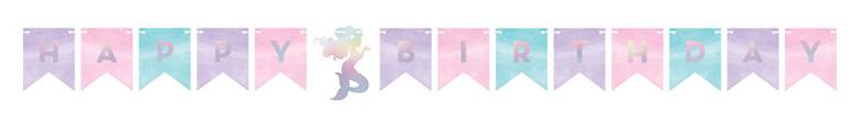 Iridescent Mermaid Shine Shaped Happy Birthday Cardboard Letter Banner 163cm Product Image