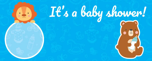 It's A Baby Shower Blue Design Small Personalised Banner - 4ft x 2ft