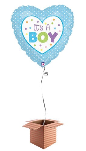 Its A Boy Dots Heart Shaped Foil Balloon - Inflated Balloon in a Box