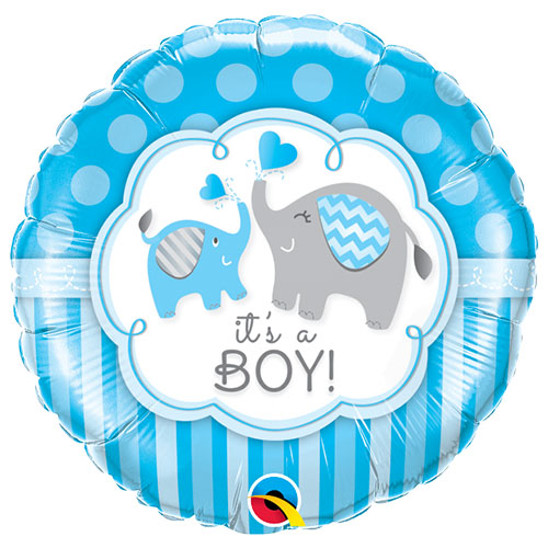It's A Boy Elephants Baby Shower Round Foil Helium Qualatex Balloon 46cm / 18 in Product Image