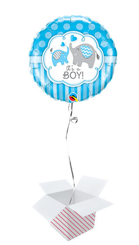 It's A Boy Elephants Baby Shower Round Foil Helium Qualatex Balloon - Inflated Balloon in a Box Product Image