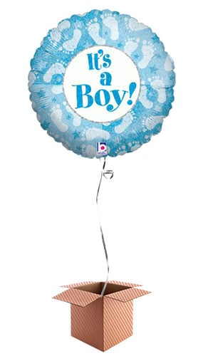 Its A Boy Footprints Design Round Foil Balloon - Inflated Balloon in a Box