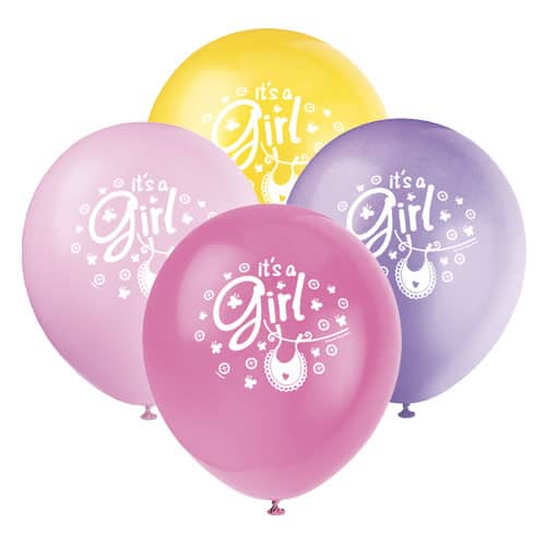 Its A Girl Clothesline Biodegradable Latex Balloons 30cm - Pack Of 8 Product Image
