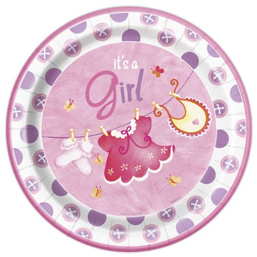 Its A Girl Clothesline Round Paper Plate - 22cm