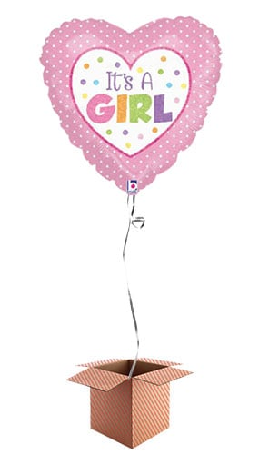 Its A Girl Dots Heart Shaped Foil Balloon - Inflated Balloon in a Box Product Image