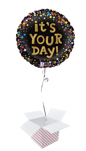 It's Your Day Stars Round Foil Helium Balloon - Inflated Balloon in a Box Product Image