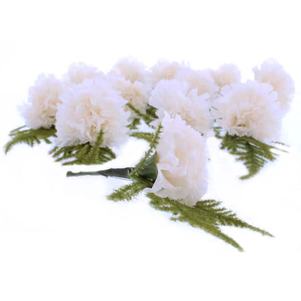 Ivory Button Hole Fabric Carnations - Pack of 12