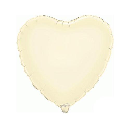 Ivory Heart Foil Helium Balloon 46cm / 18 in