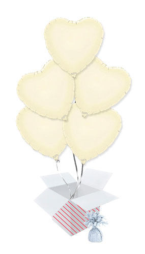Ivory Heart Foil Helium Balloon Bouquet - 5 Inflated Balloons In A Box Product Image