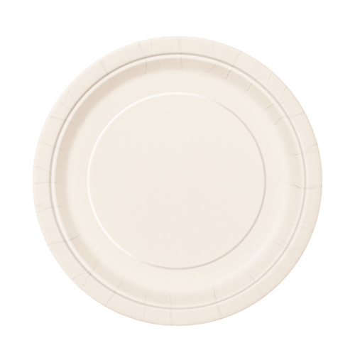 Ivory Round Paper Plates 17cm - Pack of 20