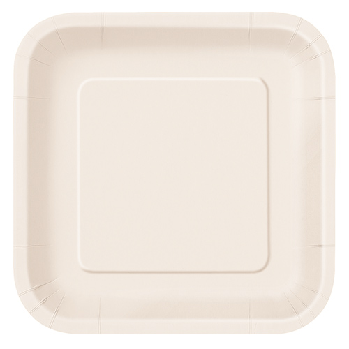 Ivory Square Paper Plates 22cm - Pack of 14