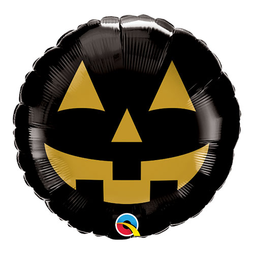 Jack Face Black And Gold Halloween Round Foil Helium Qualatex Balloon 46cm / 18 in Product Image