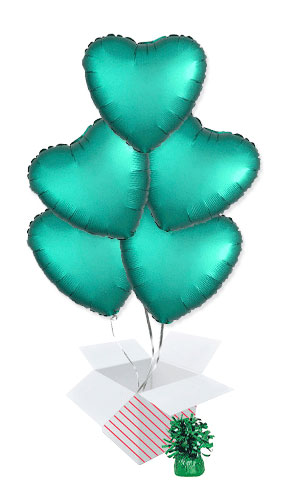 Jade Green Satin Luxe Heart Foil Helium Balloon Bouquet - 5 Inflated Balloons In A Box Product Image