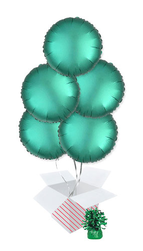 Jade Green Satin Luxe Round Foil Helium Balloon Bouquet - 5 Inflated Balloons In A Box Product Image