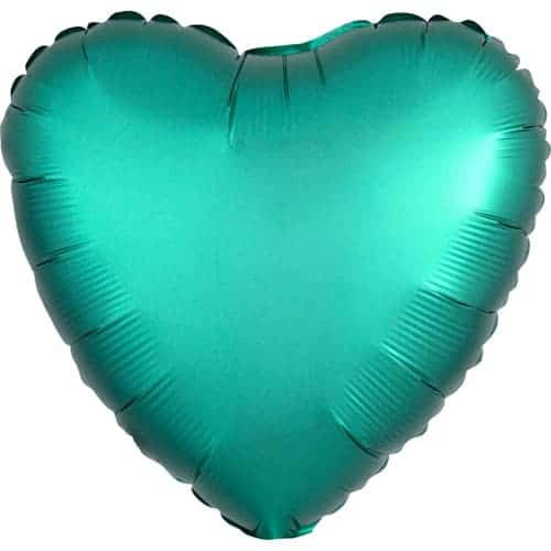 Jade Green Satin Luxe Heart Foil Helium Balloon 43cm / 17Inch Product Image