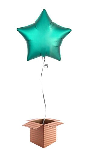 Jade Green Satin Luxe Star Foil Helium Balloon - Inflated Balloon in a Box Product Image