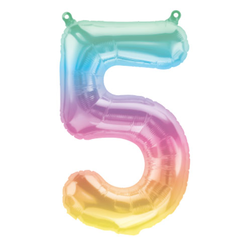 Jelli Ombre Number 5 Air Fill Foil Balloon 40cm / 16 in