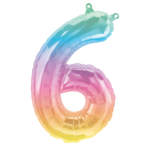 Jelli Ombre Number 6 Air Fill Foil Balloon 40cm / 16 in