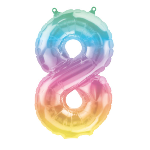 Jelli Ombre Number 8 Air Fill Foil Balloon 40cm / 16 in Product Image