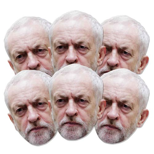 Jeremy Corbyn Cardboard Face Mask Pack of 6 Product Image