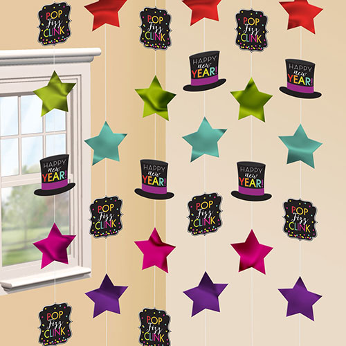 Jewel Tone New Year String Hanging Decorations 213cm - Pack of 6 Product Image