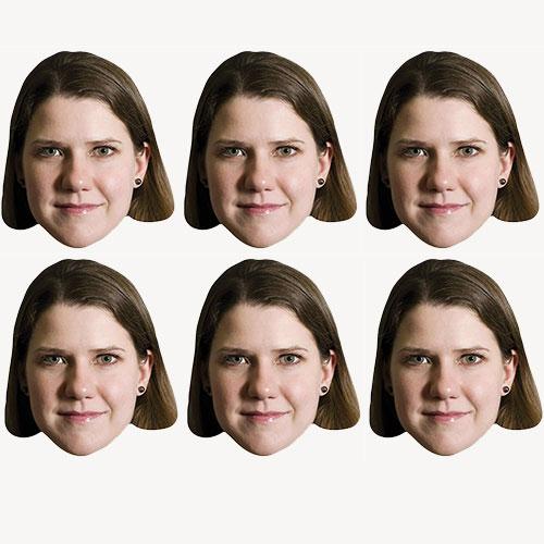 Jo Swinson Cardboard Face Masks - Pack of 6 Product Image