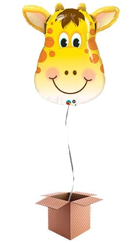 Jolly Giraffe Face Jungle Animals Helium Foil Giant Qualatex Balloon - Inflated Balloon in a Box Product Image