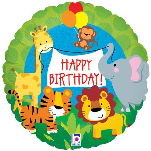 Jungle Animals Birthday Holographic Round Foil Helium Balloon 46cm / 18 in
