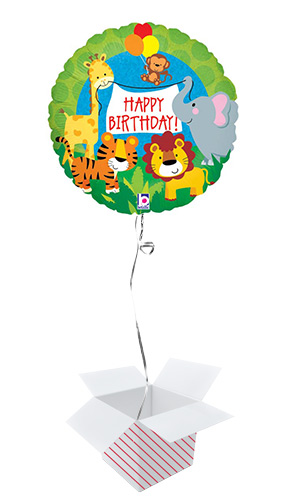 Jungle Animals Birthday Holographic Round Foil Helium Balloon - Inflated Balloon in a Box Product Image