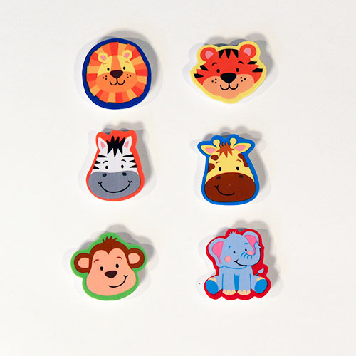Jungle Animals Head Novelty Erasers - Pack of 6
